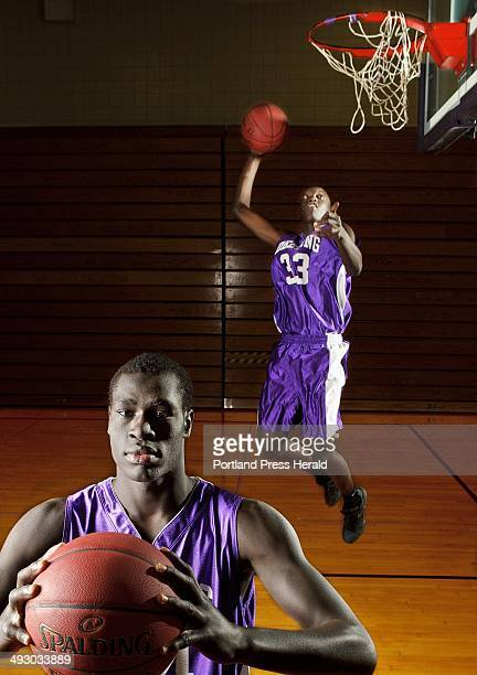 Deering basketball players Thiwat Thiwat foreground and Labson Abwoch background photographed on Wednesday February 29 for a preview of the Class A...