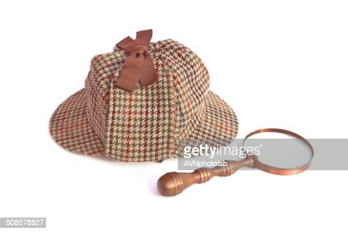 Deerstalker Hat And Magnifier Detective Concept Isolated On White : Stock Photo