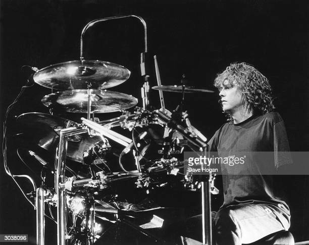 Def Leppard drummer Rick Allen on stage 9th October 1987 Allen lost his left arm in a car accident in 1984 but continued to play with the band using...