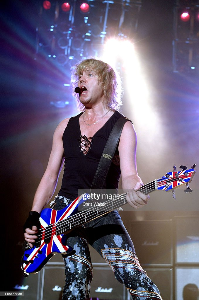 <a gi-track='captionPersonalityLinkClicked' href=/galleries/search?phrase=Def+Leppard&family=editorial&specificpeople=614448 ng-click='$event.stopPropagation()'>Def Leppard</a> <a gi-track='captionPersonalityLinkClicked' href=/galleries/search?phrase=Rick+Savage&family=editorial&specificpeople=221614 ng-click='$event.stopPropagation()'>Rick Savage</a> during <a gi-track='captionPersonalityLinkClicked' href=/galleries/search?phrase=Def+Leppard&family=editorial&specificpeople=614448 ng-click='$event.stopPropagation()'>Def Leppard</a> 2002 Tour Opens In Las Vegas at Mandalay Bay Events Center in Las Vegas, Nevada, United States.