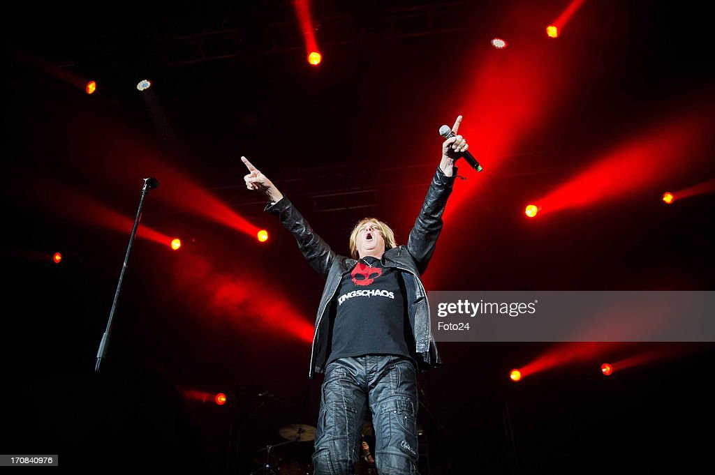Def Leppard vocalist Joe Elliot during the Kings of Chaos concert on June 16, 2013 in Sun City, South Africa. Kings of Chaos performed in Sun City on June 15 and 16, 2013.