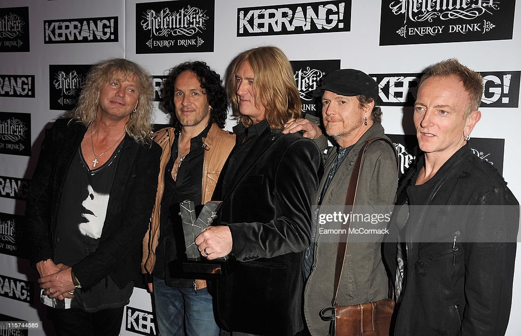 Def Leppard with their Inspiration award during The Relentless Energy Drink Kerrang! Awards at The Brewery on June 9, 2011 in London, England.
