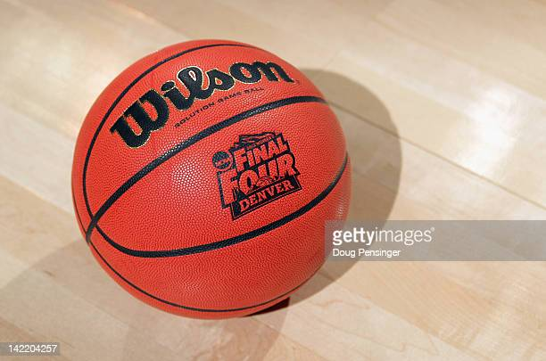 A defail photo of the official game ball on the court during practice prior to the NCAA Women's Basketball Tournament Final Four at Pepsi Center on...