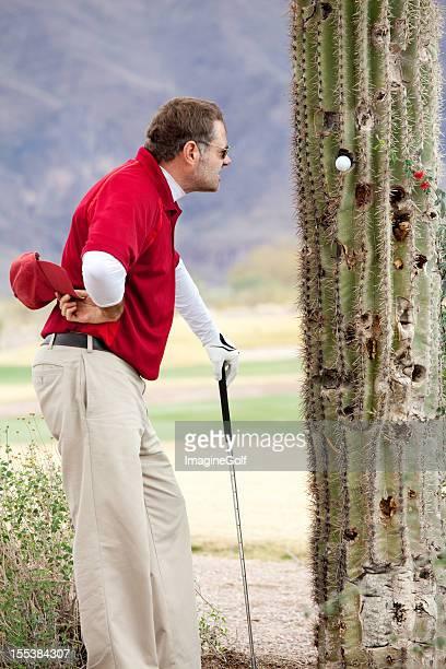 Besiegt und wütende Golfer mit Ball Feststecken in Tree