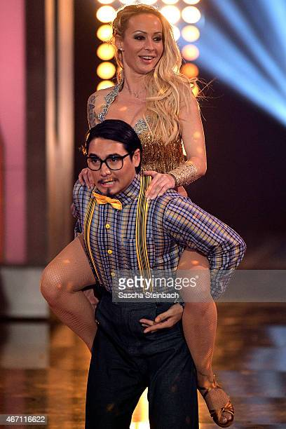 Defeated Erich Klann and Cora Schumacher enter the stage during the 2nd show of the television competition 'Let's Dance' on March 20 2015 in Cologne...