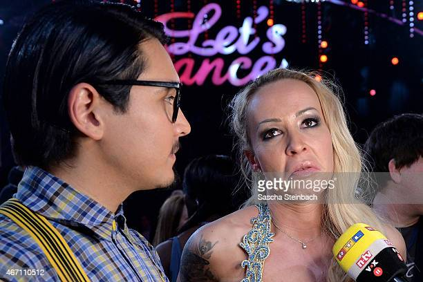 Defeated Erich Klann and Cora Schumacher react after the 2nd show of the television competition 'Let's Dance' on March 20 2015 in Cologne Germany
