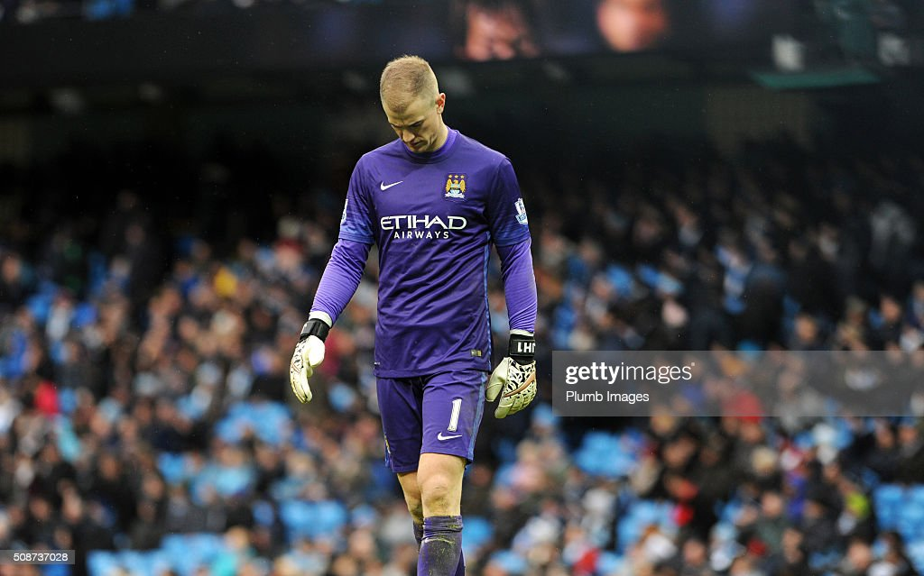 A defeated Joe Hart of Manchester City after the Premier League match between Manchester City and Leicester City at Etihad Stadium on February 6, 2016 in Manchester, United Kingdom.