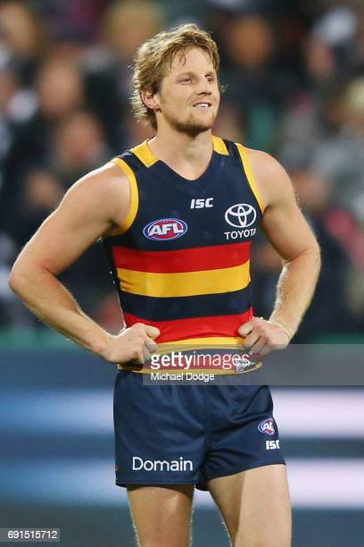 A defeated Rory Sloane of the Crows reacts after the final siren during the round 11 AFL match between the Geelong Cats and the Adelaide Crows at...