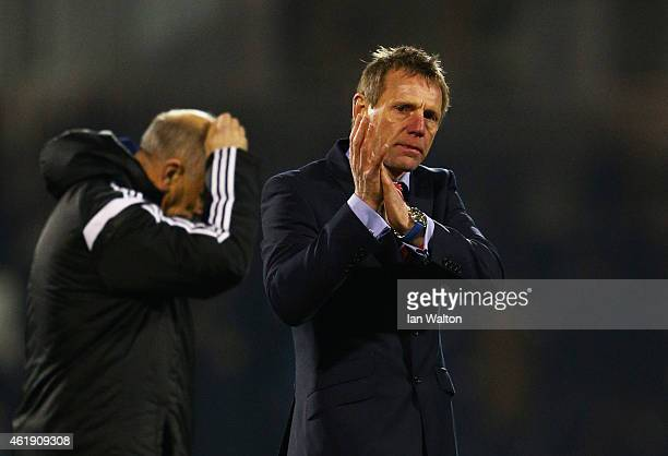 A defeated Stuart Pearce manager of Nottingham Forest applauds the travelling fans after the Sky Bet Championship match between Fulham and Nottingham...