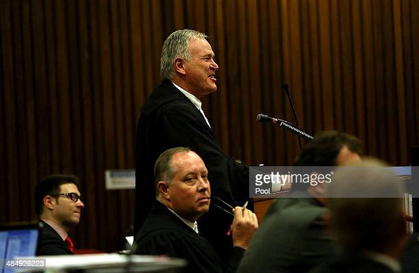 Defence Advocate Barry Roux in the Pretoria High Court on April 15 in Pretoria South Africa Oscar Pistorius stands accused of the murder of his...