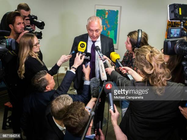 Defence attorney Johan Eriksson gives a press conference on Stockholm truck attack suspect Rakhmat Akilov on April 11 2017 in Stockholm Sweden Four...
