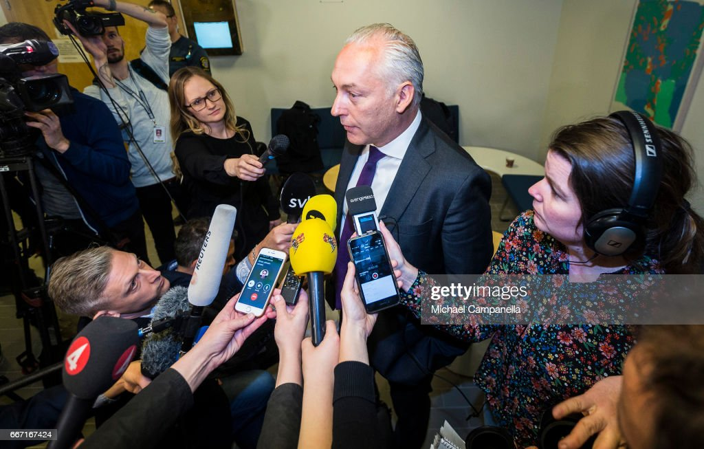 Defence attorney Johan Eriksson gives a press conference on Stockholm truck attack suspect, Rakhmat Akilov, on April 11, 2017 in Stockholm, Sweden. Four people died and fifteen were injured after a hijacked truck crashed into the front of Ahlens department store in Stockholm on April 7, 2017.