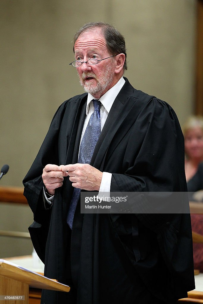 Defence counsel Rupert Glover speaks in court on February 20, 2014 in Christchurch, New Zealand. In 2013, Helen Milner was found guilty of the murder and attempted murder of her husband, Philip Nisbet, who was found dead in their Halswell home on May 4, 2009.