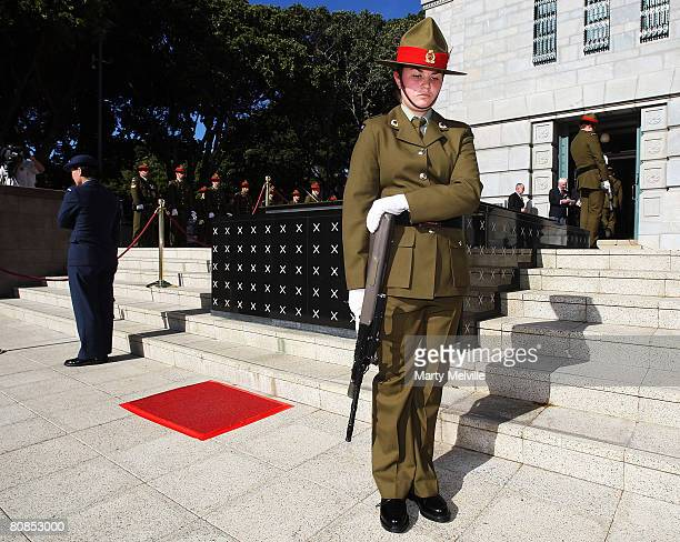 Defence force personal stand at the Tomb of the Unknown Warrior during the Wellington Anzac day commemorations at the National War Memorial on April...