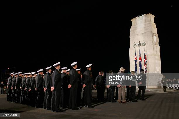 Defence Force personnel surround the Cenotaph during the Dawn Service at the Auckland War Memorial Museum on April 25 2017 in Auckland New Zealand In...