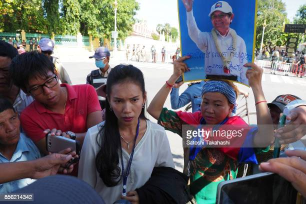 A defence lawyer for Cambodia's main opposition Cambodia National Rescue Party President Kem Sokha speaks to the media after out of the Appeal Court...