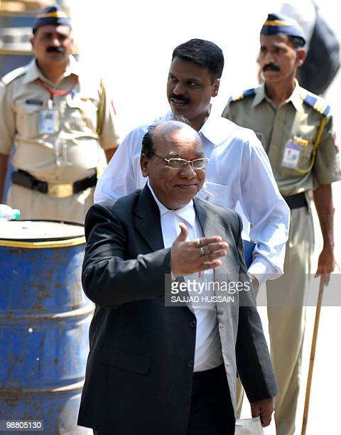 Defence Lawyer of the suspected lone surviving gunman of the 2008 Mumbai attacks Mohammad Ajmal Kasab KP Pawar gestures as he arrives at a special...
