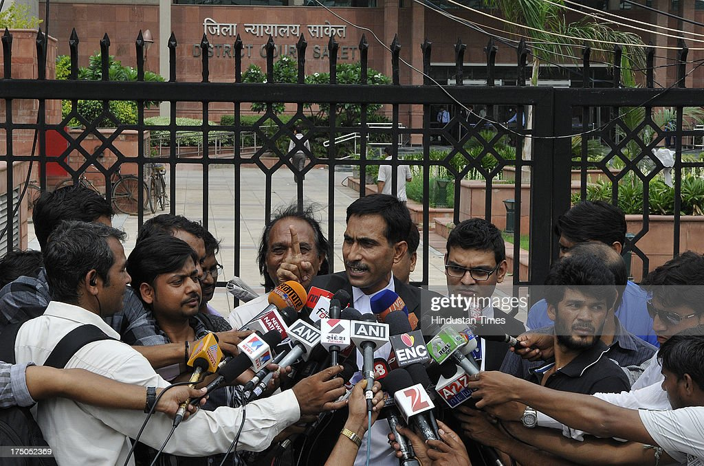 Defence Lawyer S Qamar addresses media person at Saket court after session court awarded life term to lone suspected Indian Mujahideen operative Shahzad Ahmed in 2008 Batla House encounter case on July 30, 2013 in New Delhi, India. Shahzad, 25, was convicted in the September 19, 2008 encounter case in which Delhi police inspector was killed and two other were injured. The encounter at Batla House in Jamia Nagar took place on tip-off that terrorists allegedly involved in the September 13, 2008 serial blasts in the capital were holed up there.
