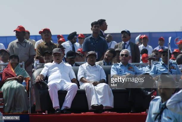 Defence Minister A K Antony and Karnataka CM B S Yeddyurappa at inaugural ceremony of Aero India 2009 Asias premier air show at Air Force station...