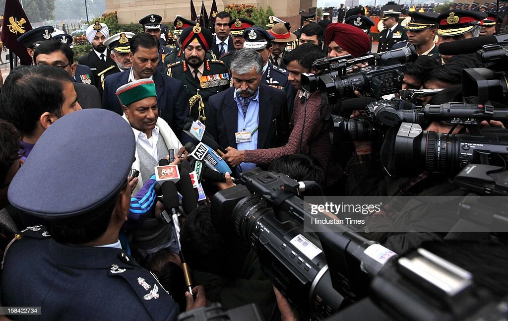 Defence Minister A K Antony and three services chief, Chief of Army Staff Gen Bikram Singh, Chief of Naval Staff Admiral DK Joshi and Chief of Air Staff Air Chief Marshal Nak Browne talking with media After paying homage to the Martyrs of 1971 war at India Gate on December 16, 2012 in New Delhi, India.