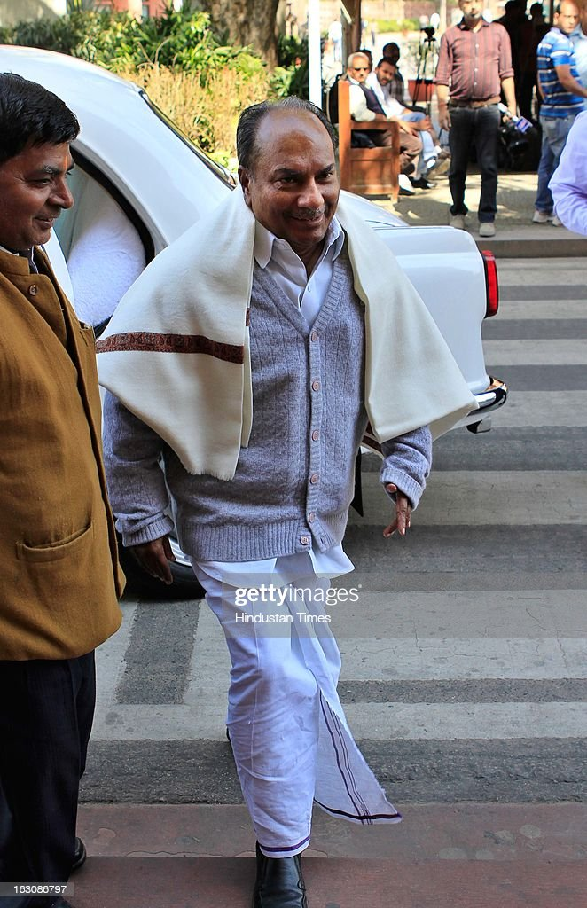 Defence Minister A K Antony arrive at Parliament during the Budget session on March 4, 2013 in New Delhi, India. Parliament failed to transact any business today as the Opposition members created uproar over hike in fuel prices and demanded immediate rollback.