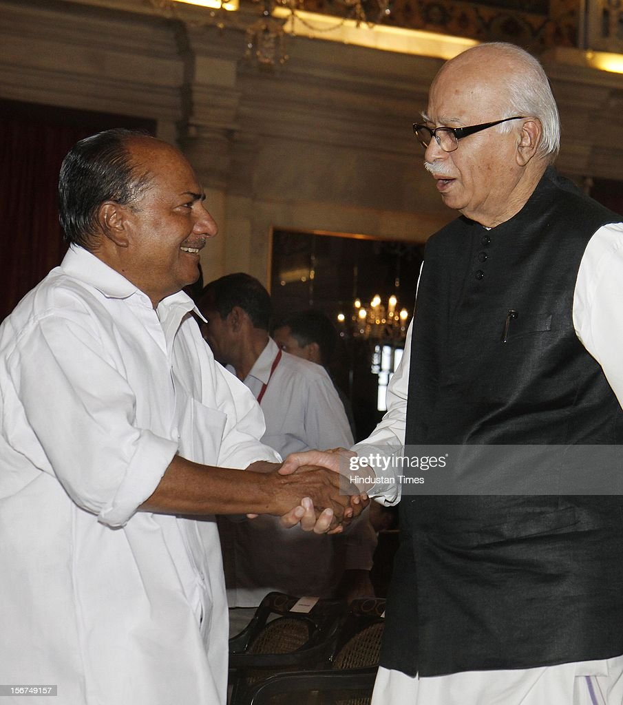 'NEW DELHI, INDIA - SEPTEMBER 29: Defence Minister A K Antony with BJP leader L K Advani during the swearing in ceremony of Justice Altamas Kabir as the 39th Chief Justice of India at Rashtrapati Bhavan on September 29, 2012 in New Delhi, India. (Photo by Mohd Zakir/Hindustan Times via Getty Images)'