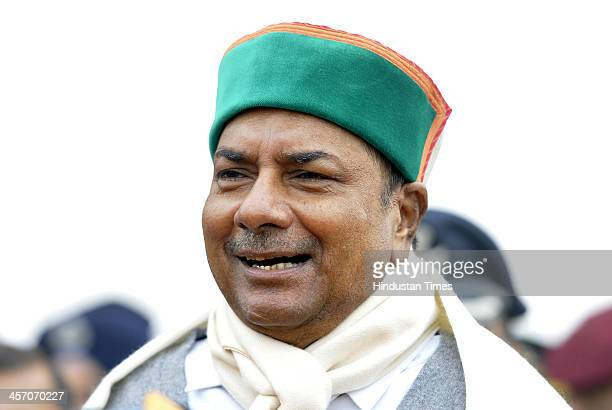 Defence Minister AK Antony after paying homage to the martyrs at Amar Jawan Jyoti at India Gate to mark the 'Vijay Divas' on December 16 2013 in New...