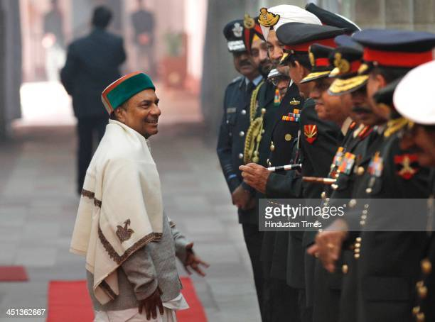 Defence Minister AK Antony shake hands with Commanders during 'Combined Commanders' Conference2013' at South Block on November 22 2013 in New Delhi...