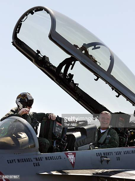 Defence Minister Brendan Nelson going for a flight in an American F18 Super Hornet at the Avalon Airshow 19 March 2007 THE AGE NEWS Picture by JASON...