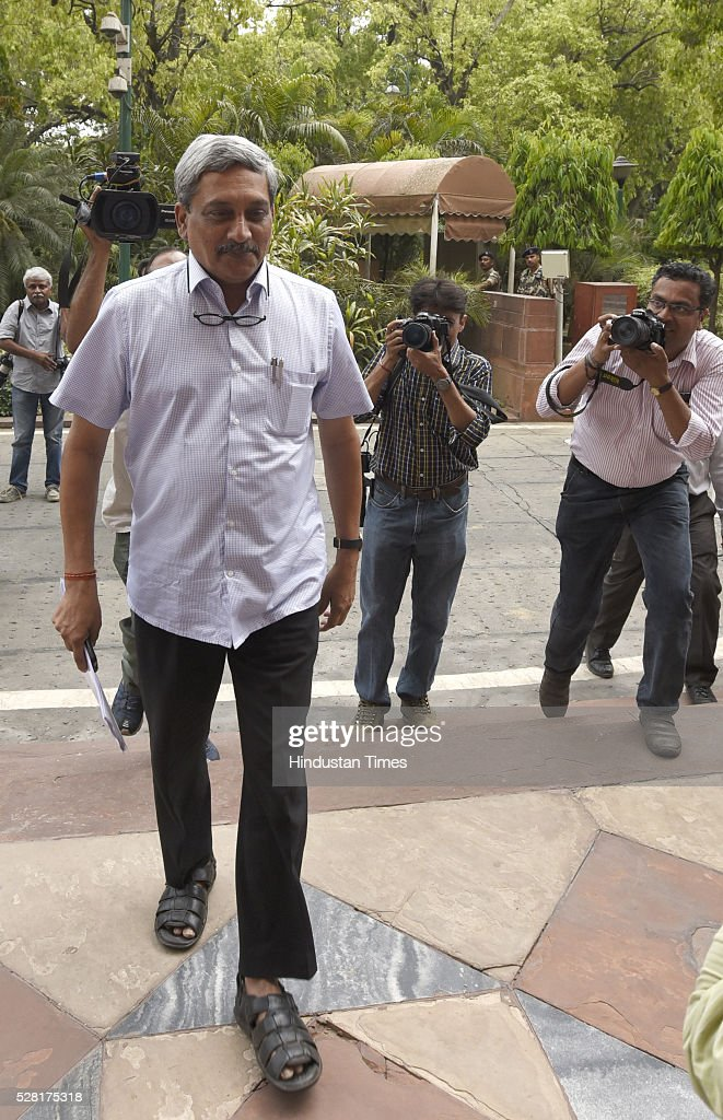 Defence Minister Manohar Parrikar during the Parliament session on May 4, 2016 in New Delhi, India. Congress walks out of the House demanding time-bound Supreme Court-monitored CBI probe on the AgustaWestland helicopter deal.