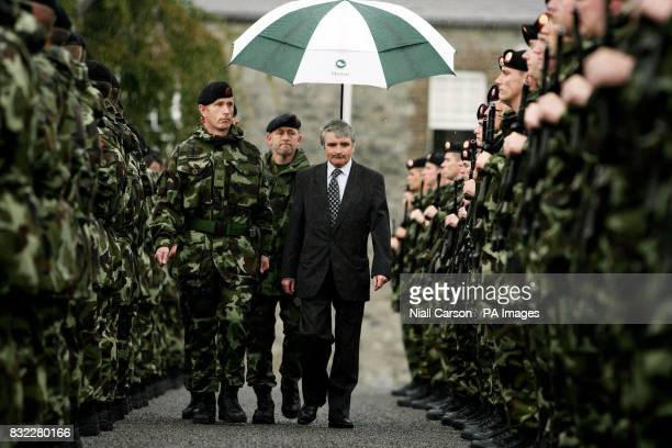 Defence Minister Willie O'Dea reviews the 33rd Infantry Group bound for overseas service with Kosovo Force at a parade in Cathal Brugha Barracks...