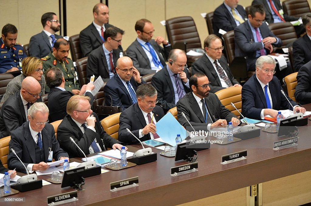 Defence ministers and obser attend the anti-Daesh coalition conference at NATO headquarters in Brussels, Belgium on February 11, 2016. The counter-Deash defense ministers conference, in Brussels, comprises 27 nations, including the United States, that provide force contributions to the counter-Daesh campaign.