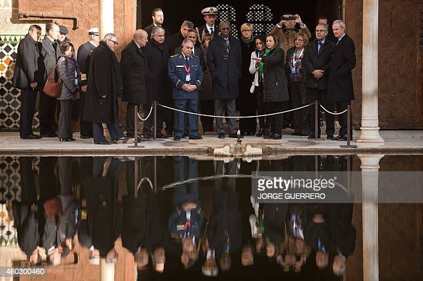 Defence Ministers of Portugal Jose Pedro Aguiar Branco Mauritania's Diallo Mamadou Bathia France's JeanYves Le Drian Spain's Pedro Morenes Eulate...
