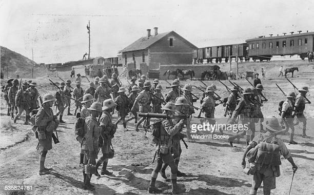 Defence of Baku Party of the 7th North Staffordshire Regiment entering the railway culvert on the BakuDigya Road August 1918