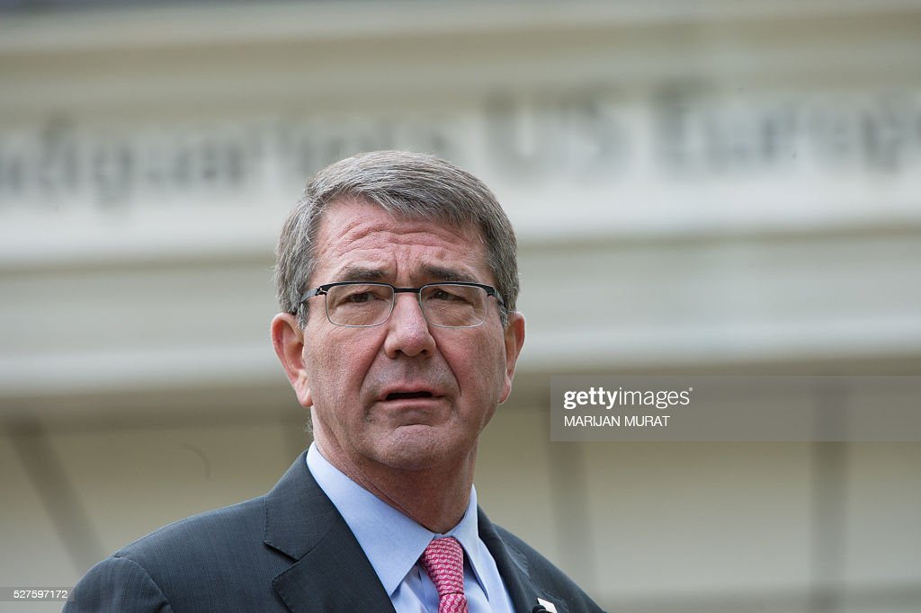 US Defence Secretary Ashton Carter gives a speech during his visit on May 3, 2016 at the Patch Barracks in Stuttgart, southern Germany. Carter attended a ceremony as US General Curtis Scaparrotti was introduced as Commander of the US European Command, taking over from US General Philip Breedlove. / AFP / dpa / Marijan Murat / Germany OUT