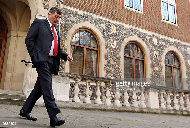 Defence secretary Bob Ainsworth leaves Church House in Westminster on April 8 2010 in London England Labour's National Executive Committee held a...