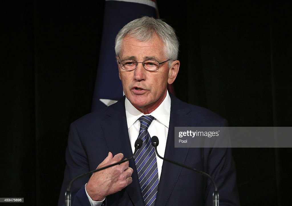 Defence Secretary Chuck Hagel holds his hand up as he speaks during a press conference with Australia's Defence Minister David Johnston on August 11, 2014 in Sydney, Australia. US Sercretary of State John Kerry and US Secretary of Defence, Chuck Hagel will join Australian Foreign Minister Julie Bishop and Australian Defence Minister David Johnston at the annual Australia-Unites States Ministerial Consultations (AUSMIN) in Sydney tomorrow.