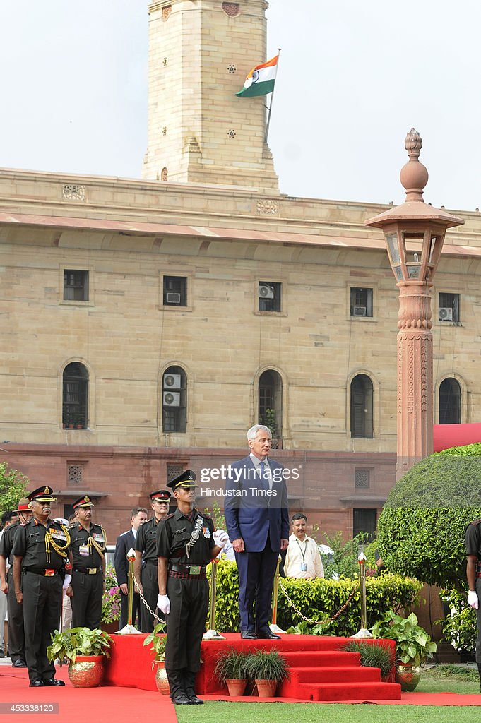 Defence Secretary Chuck Hagel inspects a guard of honor before a meeting with Indian Defense Minister Arun Jaitley at South Block on August 8 2014 in...