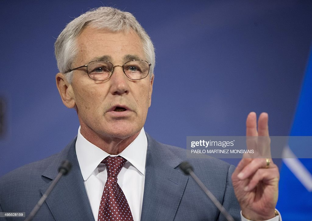 US Defence Secretary Chuck Hagel speaks during a press conference at the conclusion of a North Atlantic Treaty Organization (NATO) defence ministers' meeting at the NATO headquarters in Brussels, on June 4, 2014. NATO defence ministers agreed on June 3 to a series of steps to bolster protection in eastern Europe after the Ukraine crisis, but insisted they were acting within the limits of a key post-Cold War treaty with Moscow. AFP PHOTO / POOL / PABLO MARTINEZ MONSIVAIS