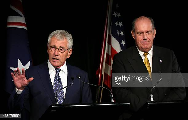 Defence Secretary Chuck Hagel speaks during a press conference with Australia's Defence Minister David Johnston on August 11 2014 in Sydney Australia...