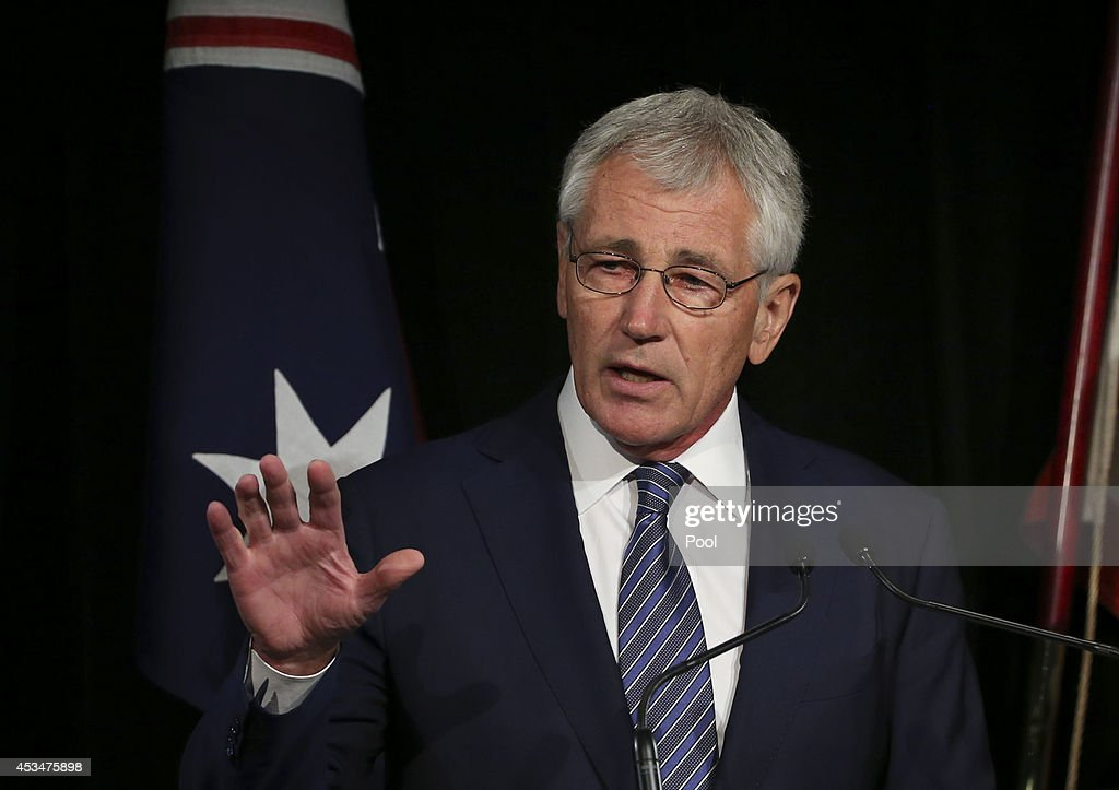 Defence Secretary <a gi-track='captionPersonalityLinkClicked' href=/galleries/search?phrase=Chuck+Hagel&family=editorial&specificpeople=504963 ng-click='$event.stopPropagation()'>Chuck Hagel</a> speaks during a press conference with Australia's Defence Minister David Johnston on August 11, 2014 in Sydney, Australia. US Sercretary of State John Kerry and US Secretary of Defence, <a gi-track='captionPersonalityLinkClicked' href=/galleries/search?phrase=Chuck+Hagel&family=editorial&specificpeople=504963 ng-click='$event.stopPropagation()'>Chuck Hagel</a> will join Australian Foreign Minister Julie Bishop and Australian Defence Minister David Johnston at the annual Australia-Unites States Ministerial Consultations (AUSMIN) in Sydney tomorrow.