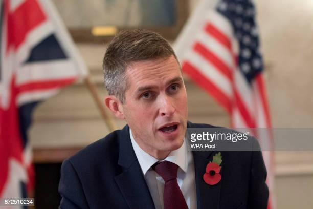 Defence Secretary Gavin Williamson during a bilateral meeting with US Defence Secretary James Mattis at the Ministry of Defence following NATO and...