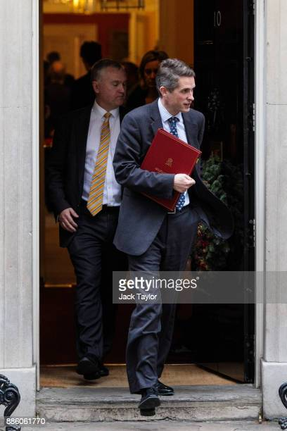 Defence Secretary Gavin Williamson leaves following the weekly cabinet meeting at Downing Street on December 5 2017 in London England British Prime...