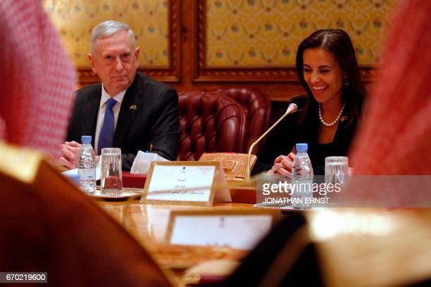 US Defence Secretary James Mattis and White House Deputy National Security Advisor Dina Powell attend a meeting with Saudi officials in Riyadh on...