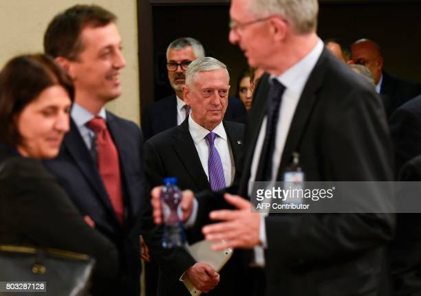 US Defence Secretary Jim Mattis arrives a Nato Defence Council meeting at the NATO Headquarters in Brussels on June 29 2017 NATO will increase troop...