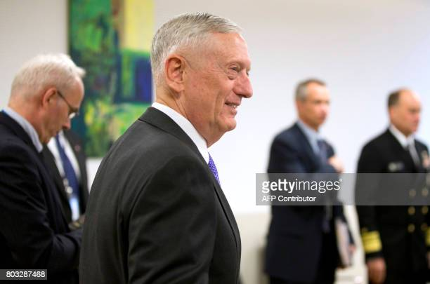US Defence Secretary Jim Mattis arrives for a bilateral meeting within a NATO Defence Council meeting at the NATO Headquarters in Brussels on June 29...