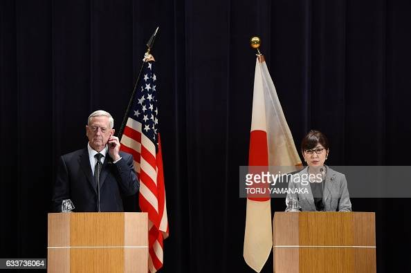 US Defence Secretary Jim Mattis listens to Japanese Defence Minister Tomomi Inada during a joint press conference at the defence ministry in Tokyo on...