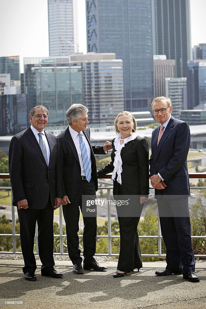US Defence Secretary Leon Panetta, Australian Minister of Defence Stephen Smith, US Secretary of State <a gi-track='captionPersonalityLinkClicked' href=/galleries/search?phrase=Hillary+Clinton&family=editorial&specificpeople=76480 ng-click='$event.stopPropagation()'>Hillary Clinton</a> and Australian Foreign Affairs minister <a gi-track='captionPersonalityLinkClicked' href=/galleries/search?phrase=Bob+Carr&family=editorial&specificpeople=209391 ng-click='$event.stopPropagation()'>Bob Carr</a> attend a wreath laying ceremony at Kings Park during the Australia-United States Ministerial Consultation, on November 14, 2012 at Cottesloe Beach near Perth , Australia. The bilateral AUSMIN forum will focus on foreign, defence and strategic policy.