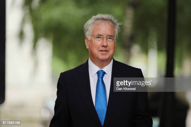 Defence Secretary Michael Fallon arrives at Downing Street for the weekly cabinet meeting on July 18 2017 in London England Prime Minister Theresa...