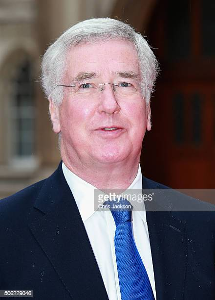 Defence Secretary Michael Fallon arrives for The Sun Military Awards at The Guildhall on January 22 2016 in London England